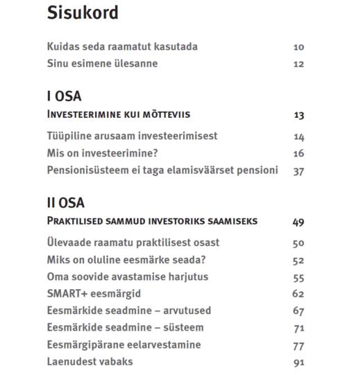 Alustava investori käsiraamatu sisukord I